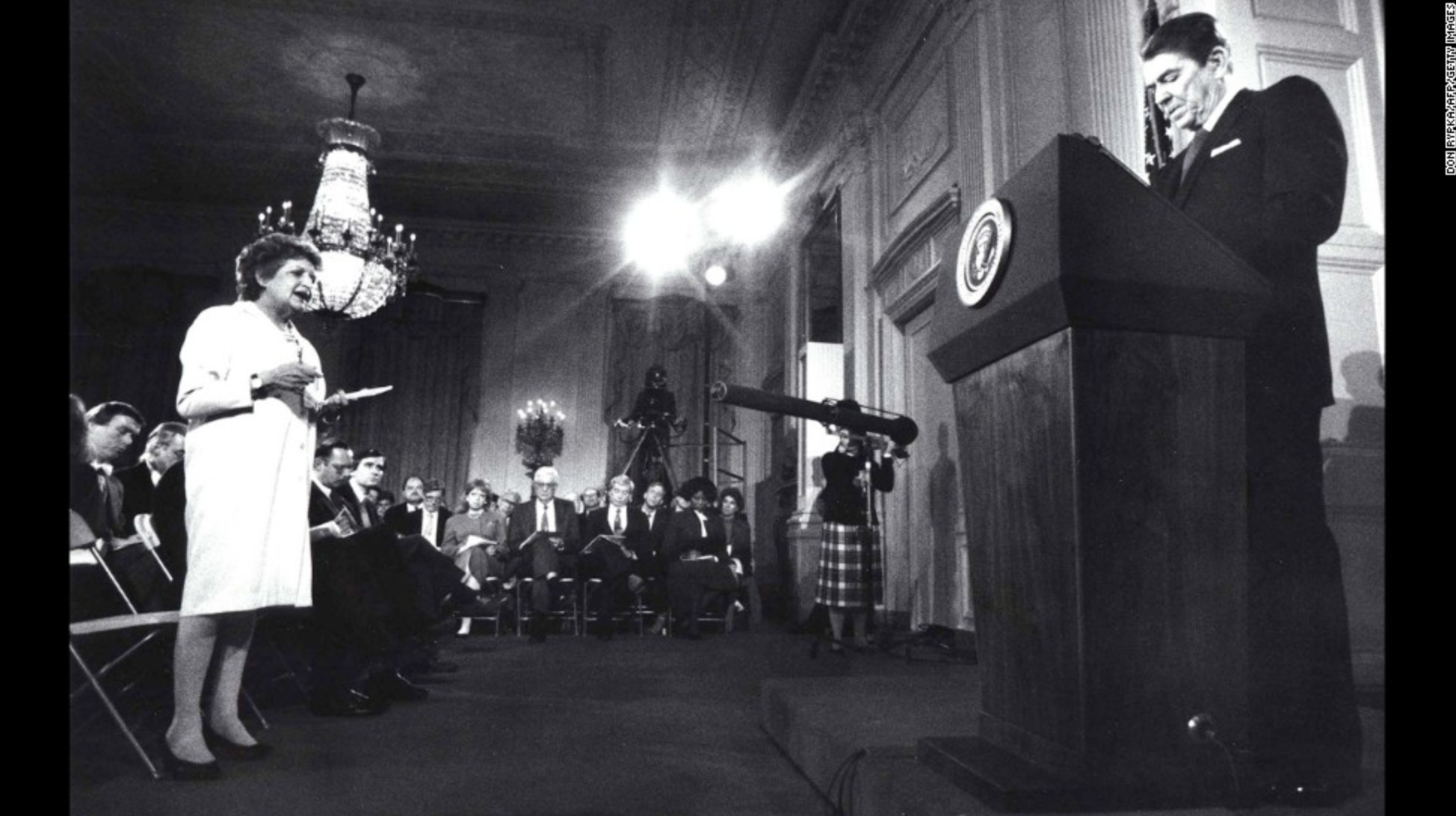 From CNN.com: Helen Thomas questions President Ronald Reagan during a press conference at the White House on March 19,1987.