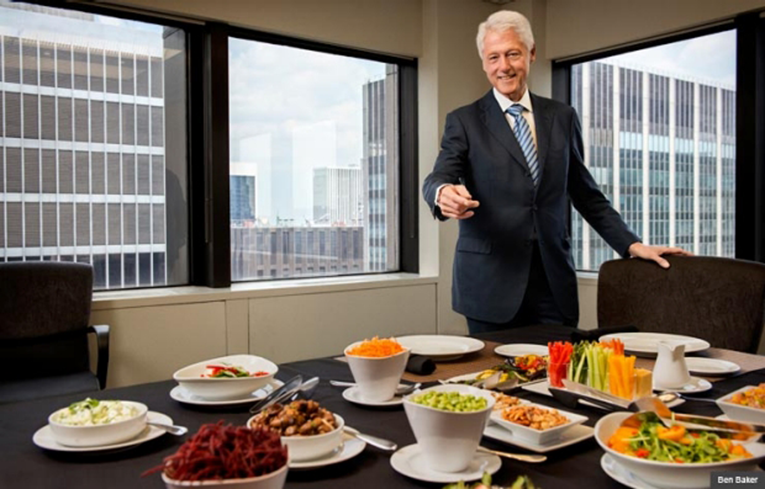 Former President Bill Clinton shows off his healthy lunch for  AARP The Magazine.  Photo source:  AARP's website.  Credit: Ben Baker.