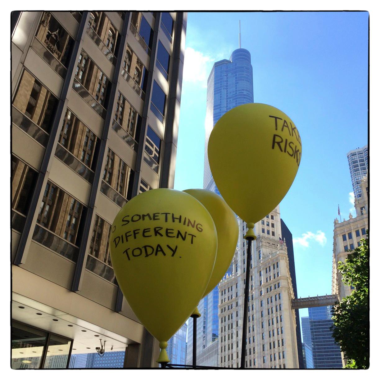Balloons on plaza outside Tribune Building, shot on September 29, 2013.