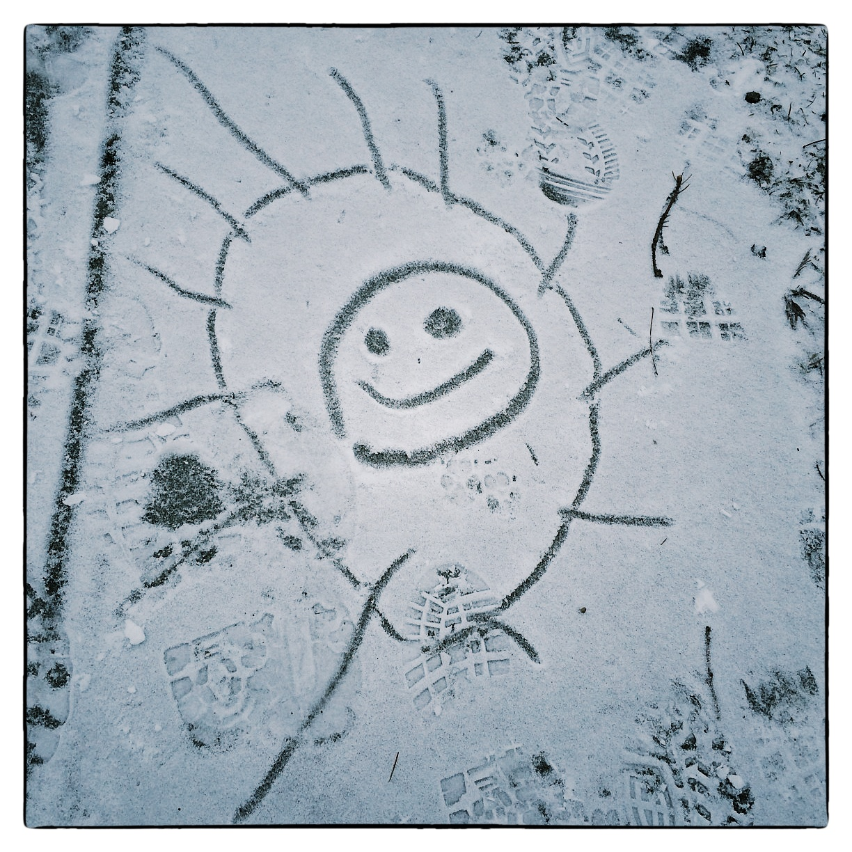 Snow art on the strolling path in Wilcox Park, shot January 2, 2014.