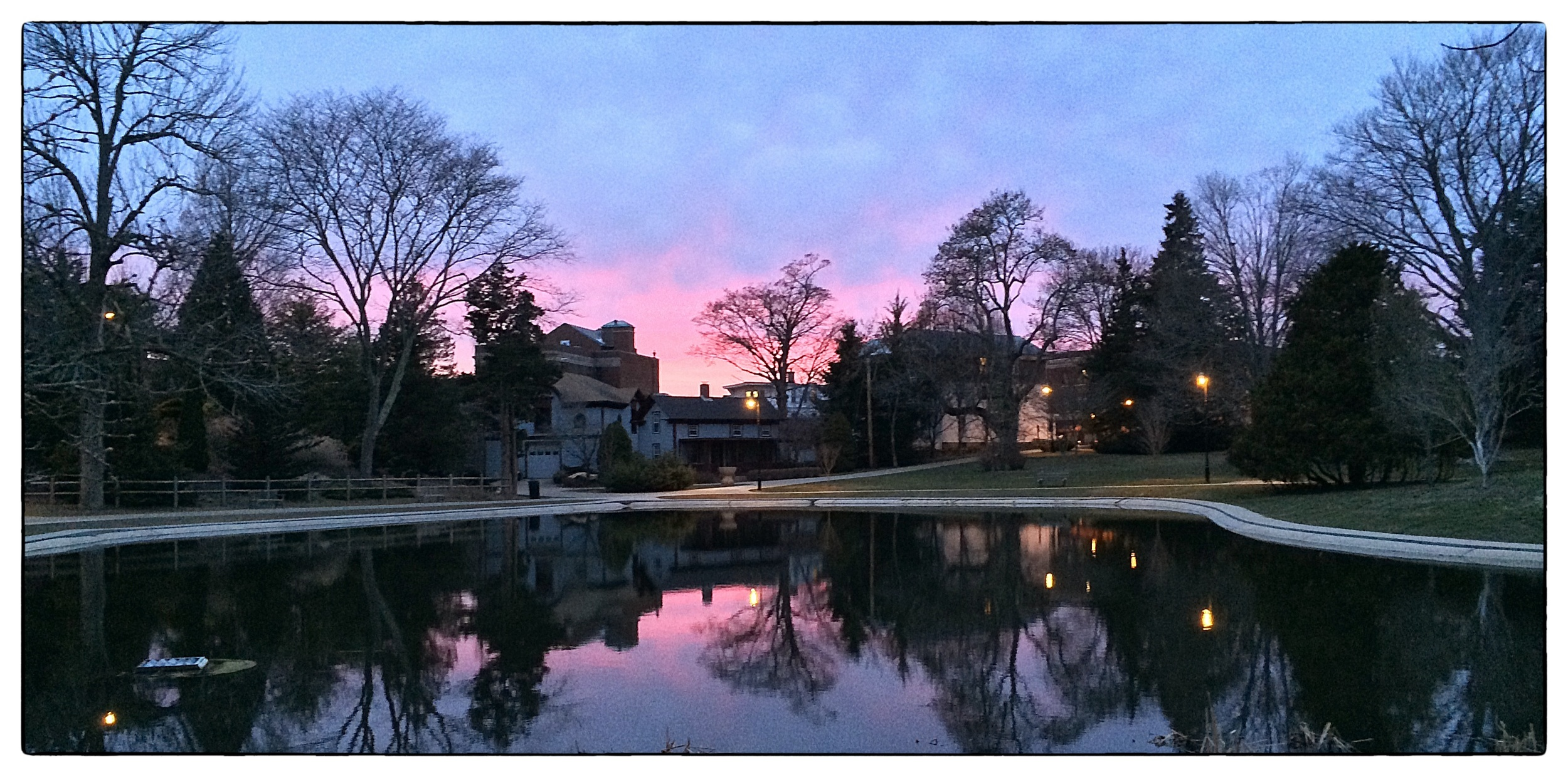 Sunset over pond in  Wilcox Park,  Westerly, R.I., shot on April 1, 2014.