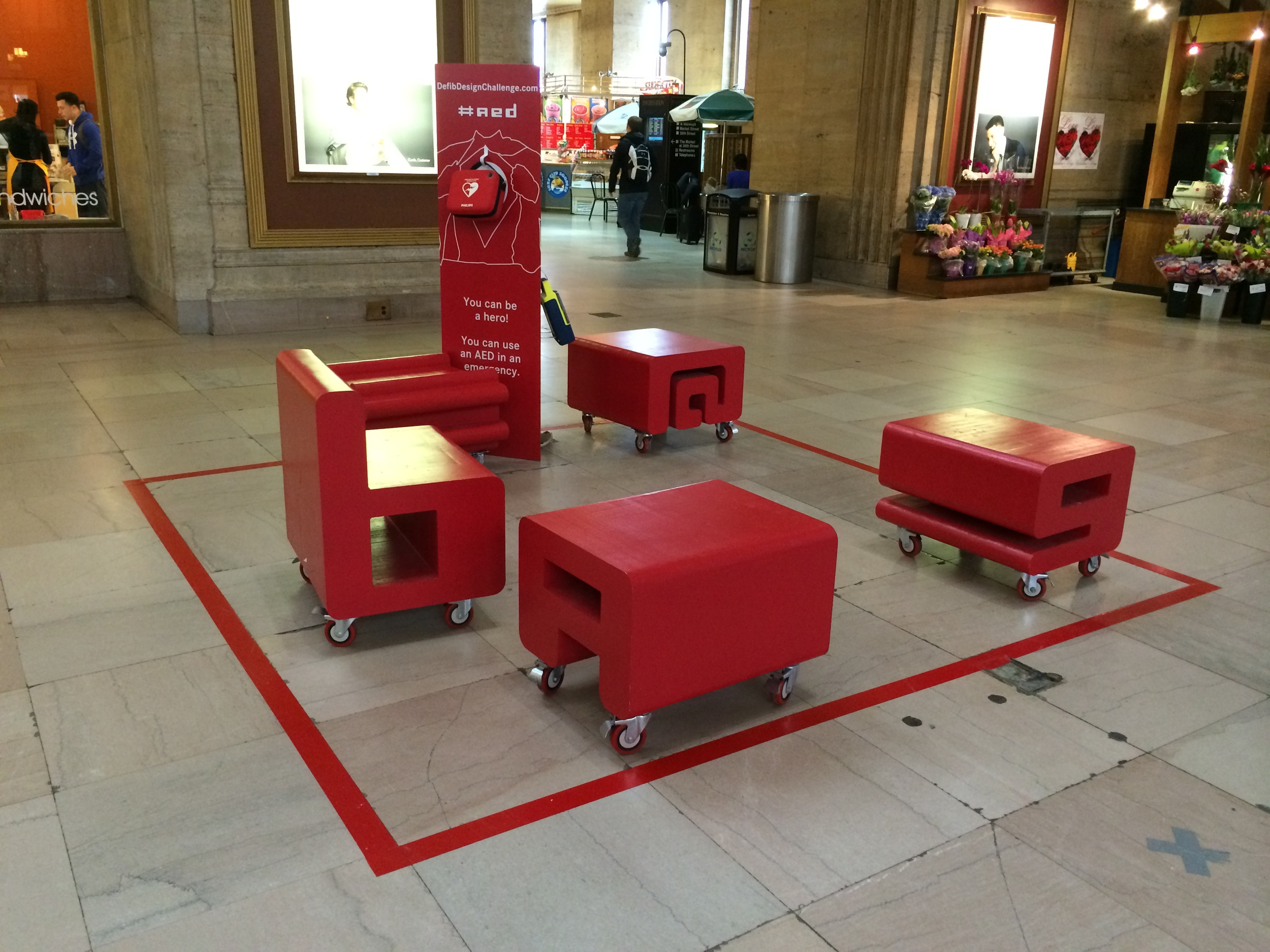 AED art exhibit at Philadelphia's 30th Street Station, shot March 22, 2014.