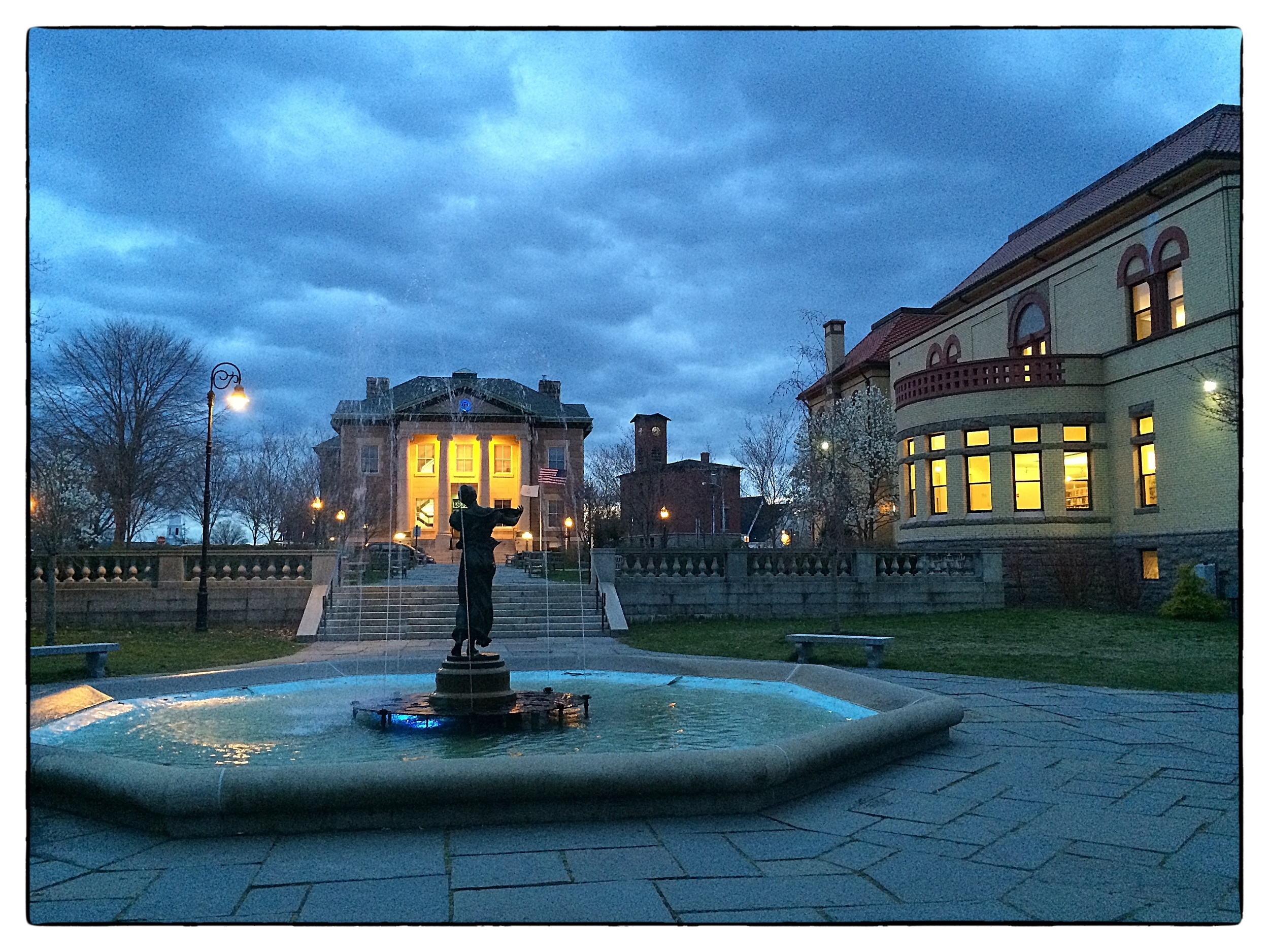 Spring evening at Wilcox Memorial Fountain in  Wilcox Park,  Westerly, R.I., shot on April 23, 2014.