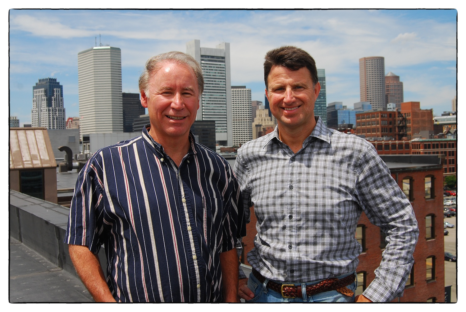 Doug Bennett and Jim Rattray, overlooking Boston's Financial District. Photo by Rod Smith.