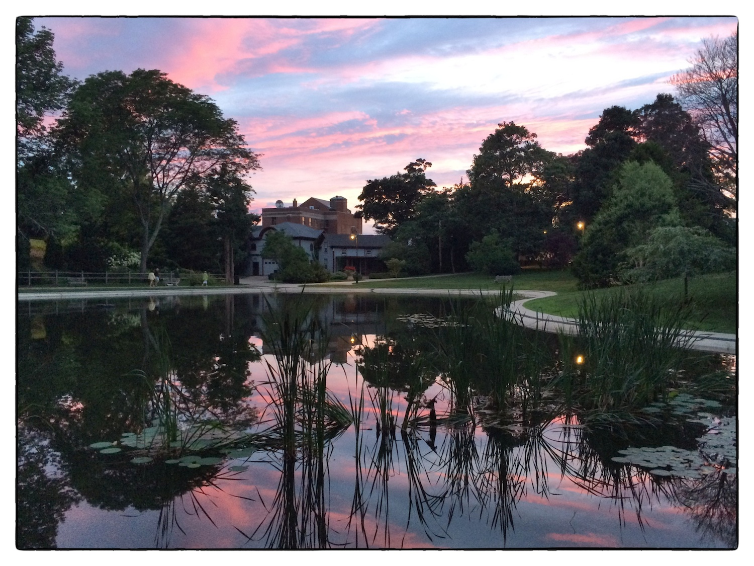 The pond at  Wilcox Park  at dusk, shot July 19, 2014, by  Lisa Rattray.