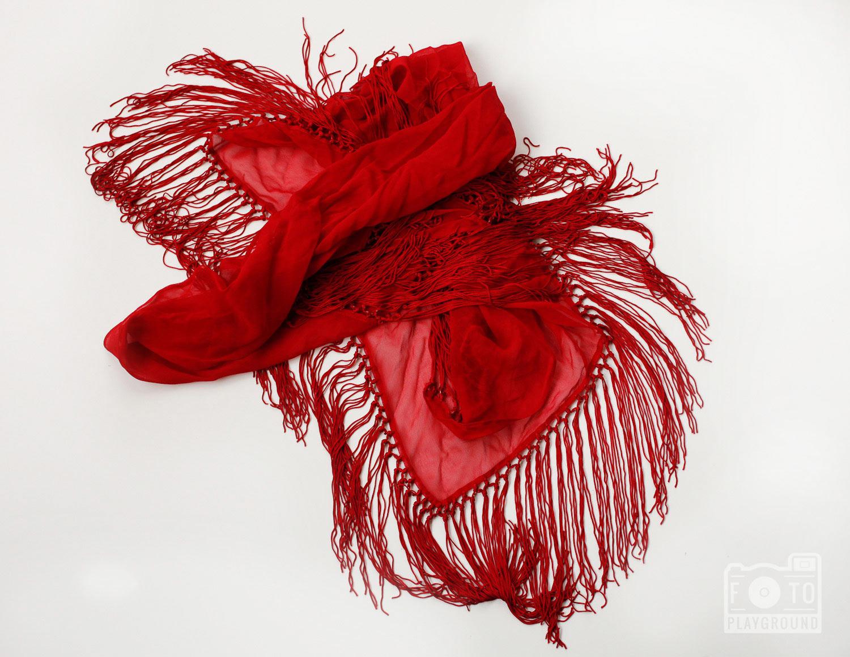red silk chiffon shawl with fringe