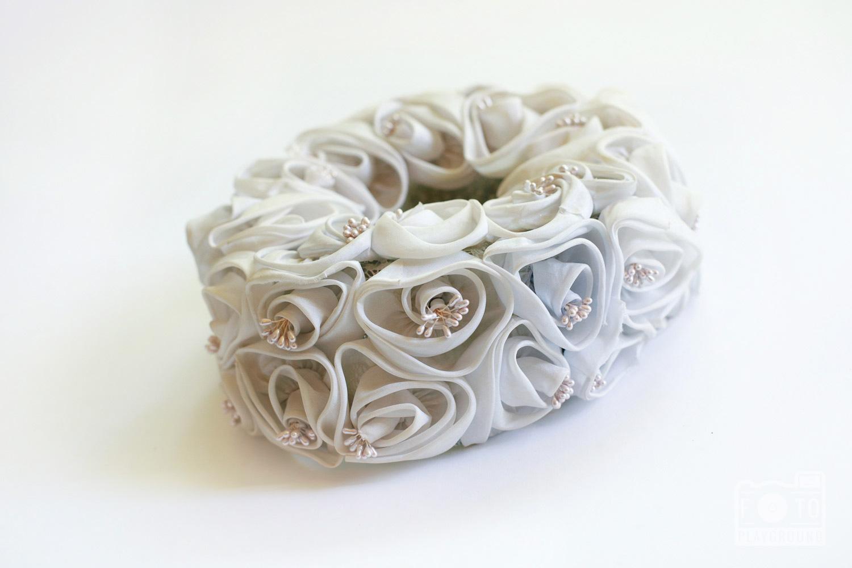 vintage gray chiffon flower hat