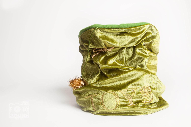 green velvet toy bag