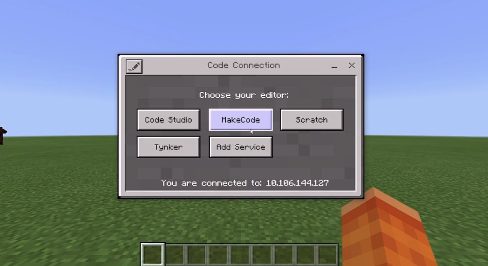 opening screen of code connection once you've made the server link