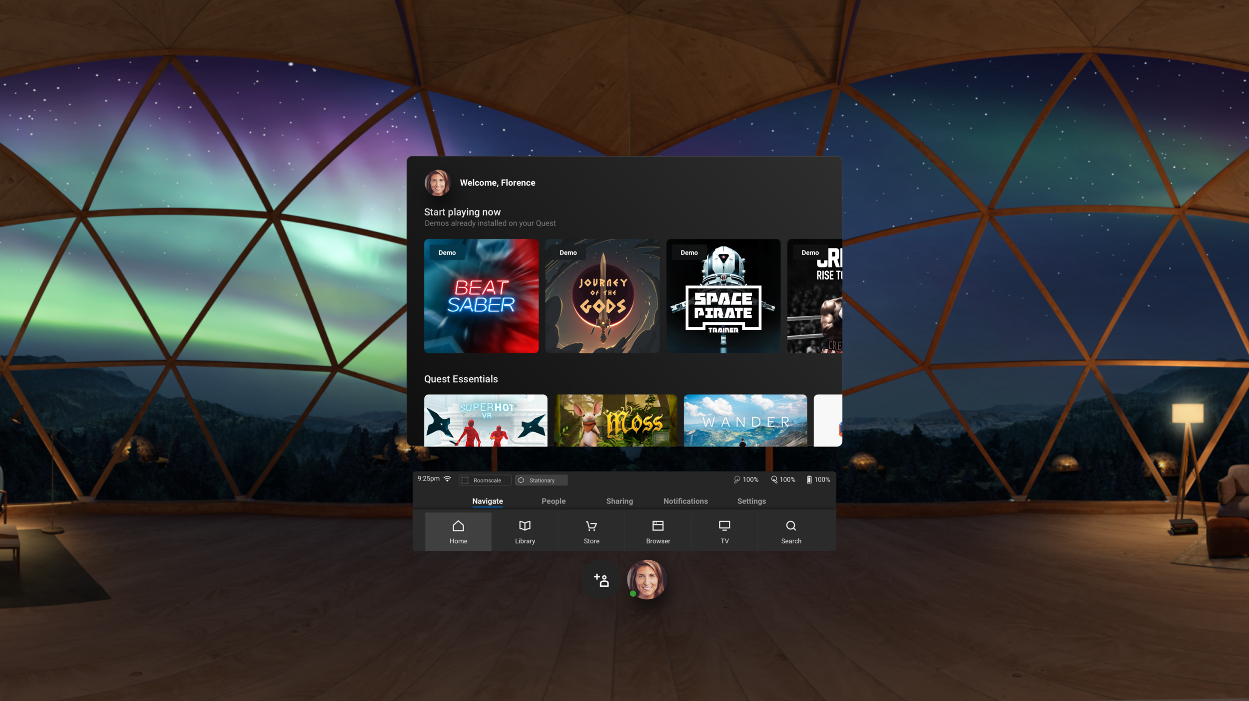 The Oculus Quest home screen with linked store profile bottom center.