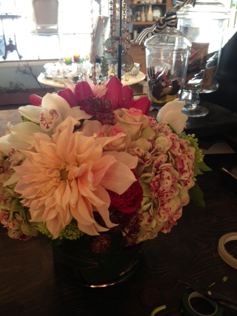 Antique Hydrangea, Dinner Plate Dahlias, Cymbidum Orchids