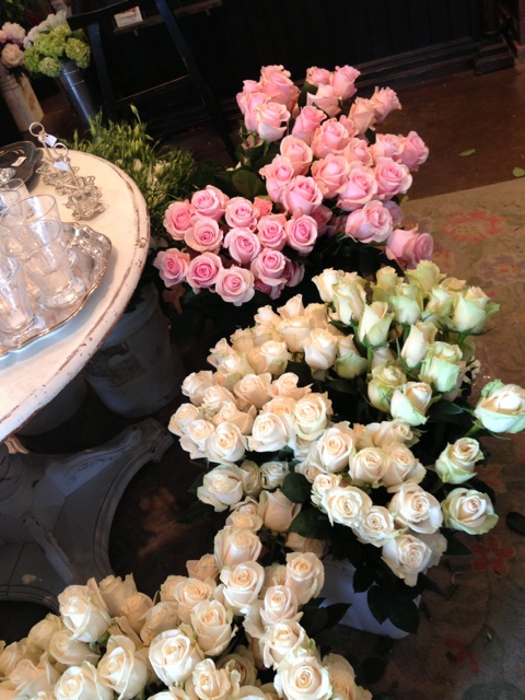 Just back from the LA Flower Mart with hundreds of roses in shades of whites, creams, and blush.