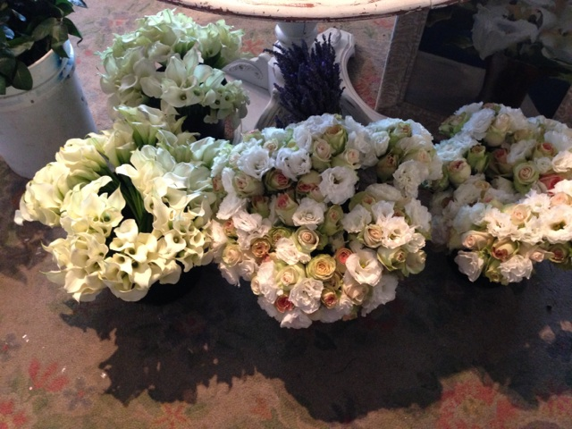 These bouquets will become the composition style centerpieces. The lavender will be tucked into the napkins on the dinning tables.