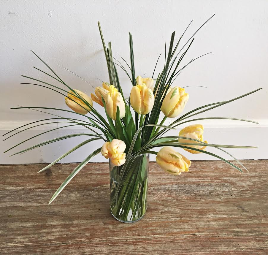 $35 tulip arrangement in a glass vase