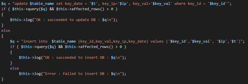 Let's put the whole insert statement into the log file.