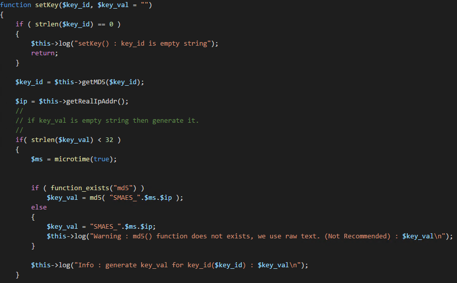 We generated a new key, let's put it in the log file.