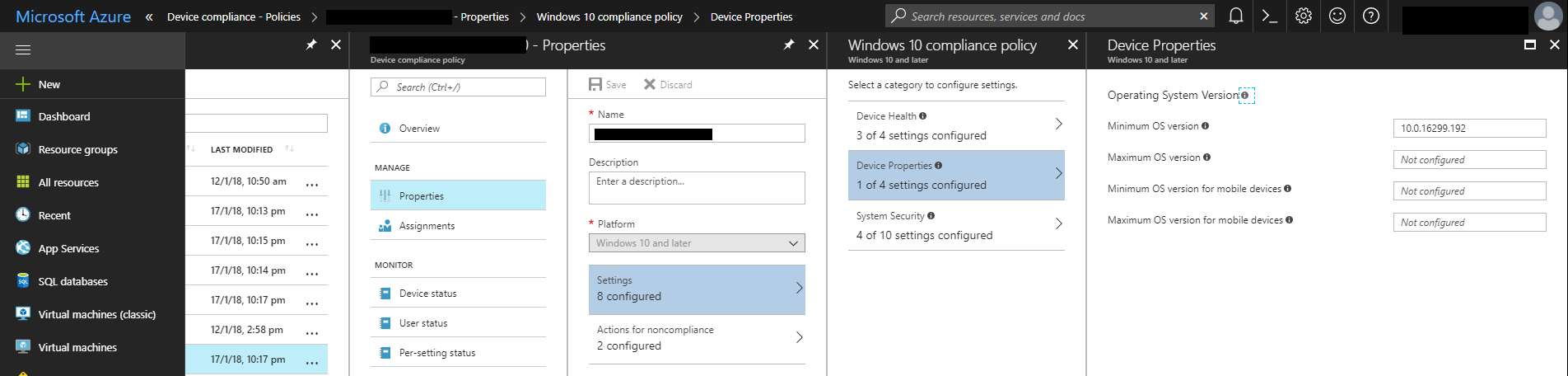 Setting the minimum Windows 10 version in a compliance policy.