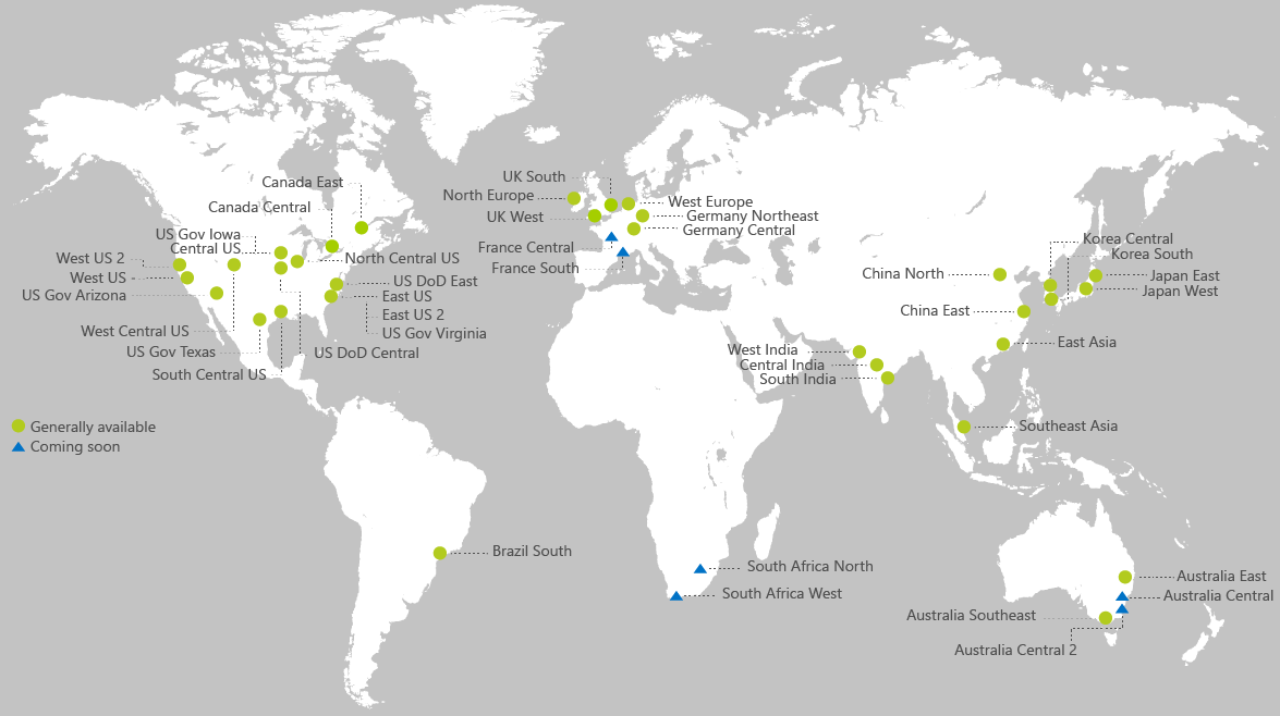Map of Azure Regions as of February 2018