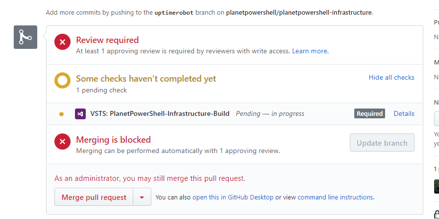 Pull request waiting checks to complete.