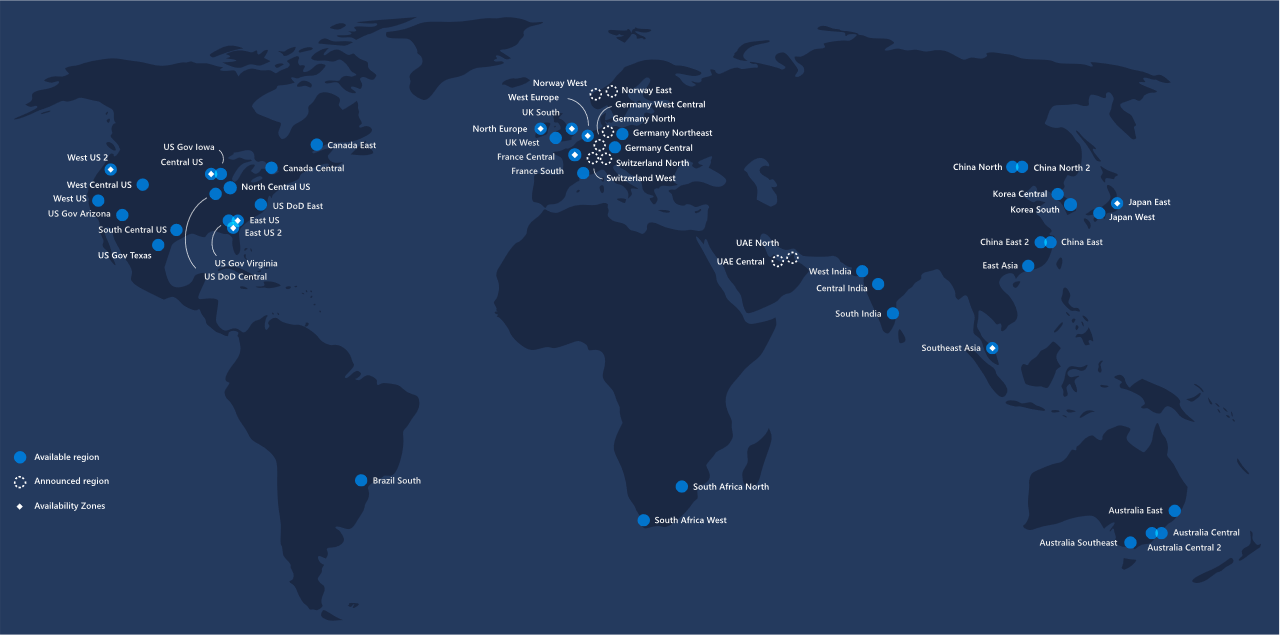 Azure Region Map