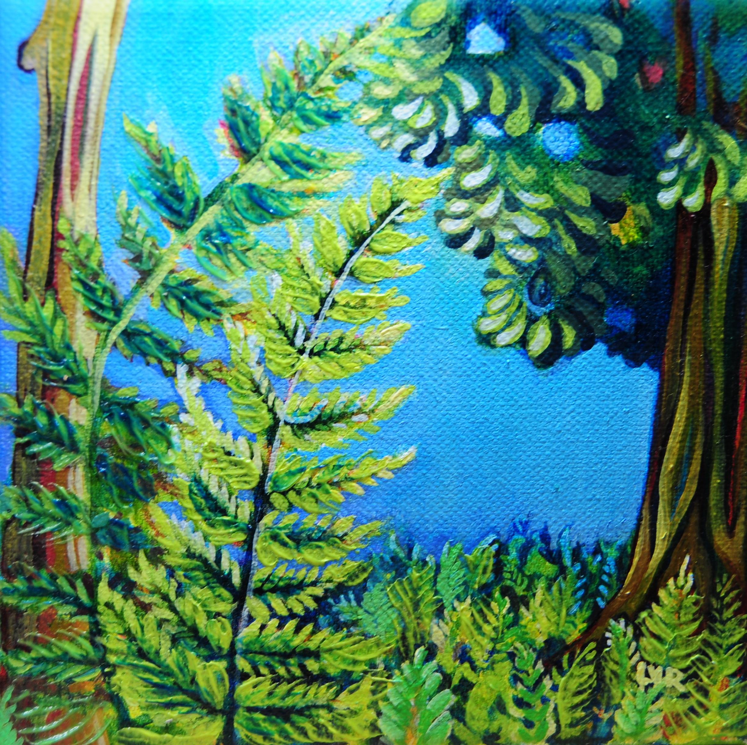 """Ferns of the Limelight   oil on canvas   6"""" x 6"""""""