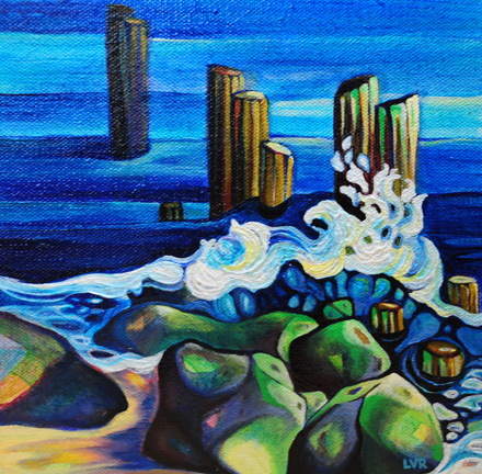 """Frolicking Flow   oil on canvas  8"""" x 8""""  SOLD"""