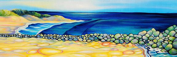 """Illuminated Cape   oil on canvas  12"""" x 36"""""""