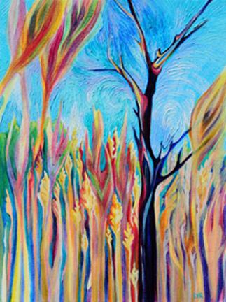 "Golden Reeds on Gordon's Pond   oil on canvas  16"" x 12"""