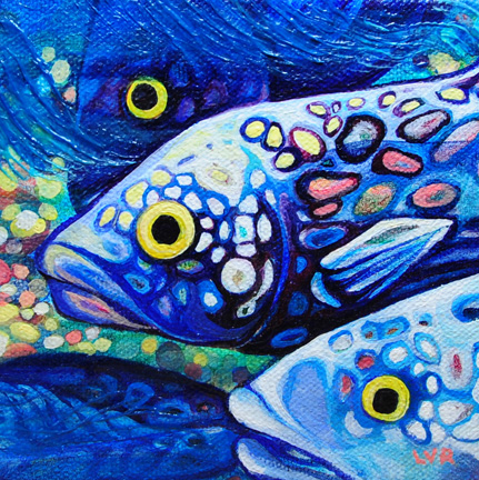 """Oceanic Soiree Clique 4   oil on canvas  5"""" x 5""""  SOLD"""