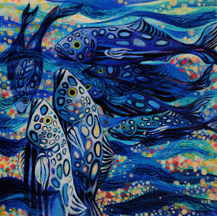 """Oceanic Soiree Clique 11   oil on canvas  12"""" x 12"""""""