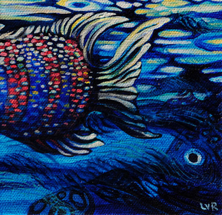"""Oceanic Soiree Clique 6   oil on canvas  5"""" x 5"""""""