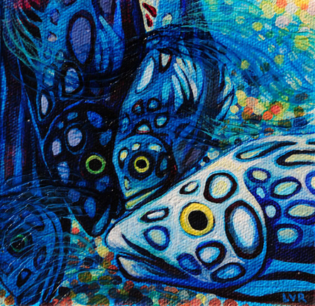 """Oceanic Soiree Clique 5    oil on canvas  5"""" x 5"""""""