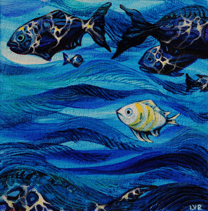 """Oceanic Soiree Clique 8   oil on canvas  8"""" x 8""""  SOLD"""