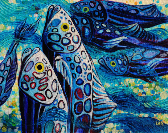"""Oceanic Soiree Clique 9   oil on canvas  8"""" x 10"""""""