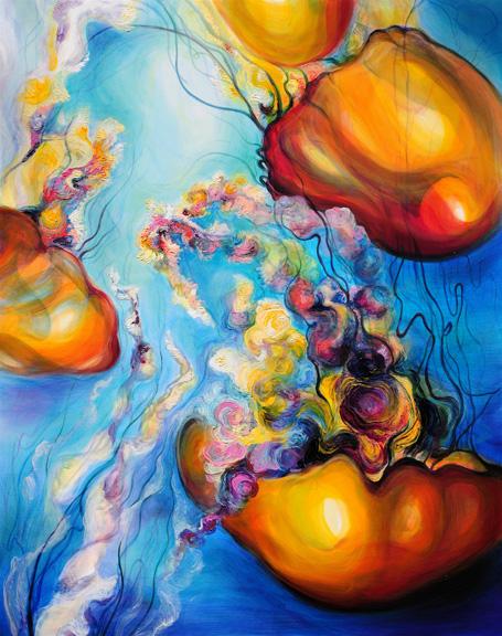 "Aquatic Bloom   oil on canvas  60"" x 48""  SOLD"