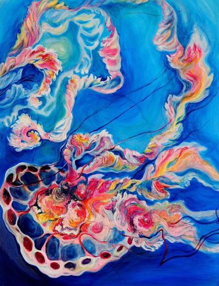 "Fluent Bloom   oil on canvas  48"" x 36"""