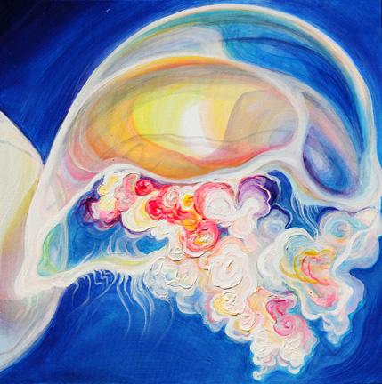 "Moon Bloom 1   oil on canvas  24"" x 24"""