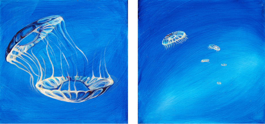 """Deep Bloom Diptych   oil on canvas  12"""" x 24""""  SOLD"""