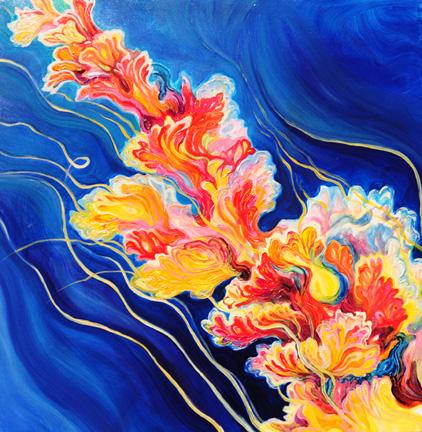 "Sea Blossom 1   oil on canvas  36"" x 36"""