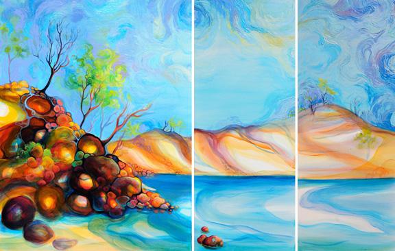 "Pelada Point Nosara   oil on canvas  40""x30"", 40""x16"", 40""x16"""