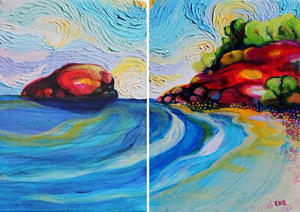 "Point Playa Pelada    oil on canvas  7""x5"", 7""x5"""