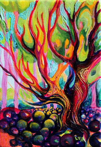 "Pelada Path (shade)  oil on canvas  7""x 5""  SOLD"