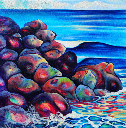"""Final Glow at Herring Point   oil on canvas  12"""" x 12"""""""