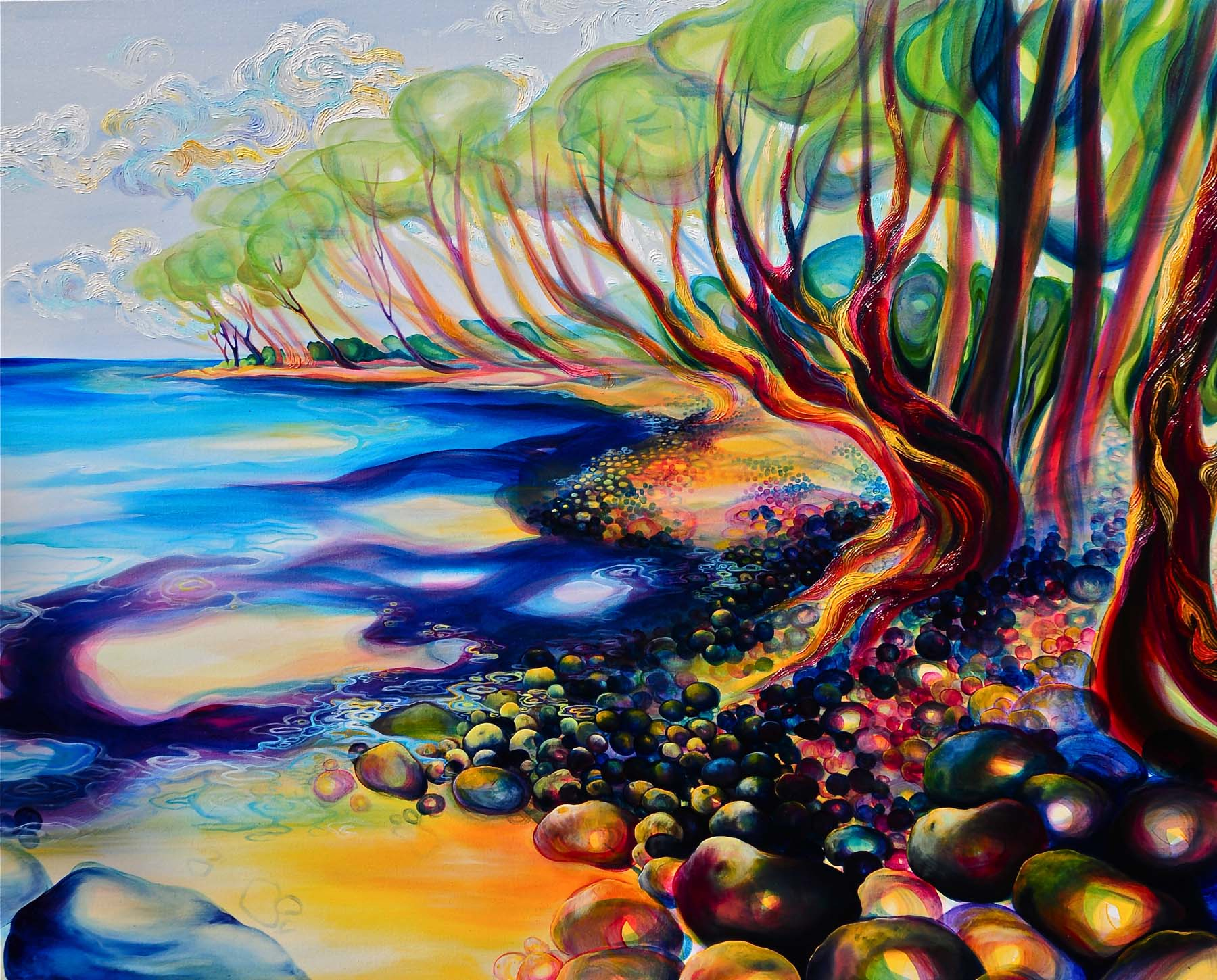 """Point Playa Guiones   oil on canvas  48""""x60"""""""