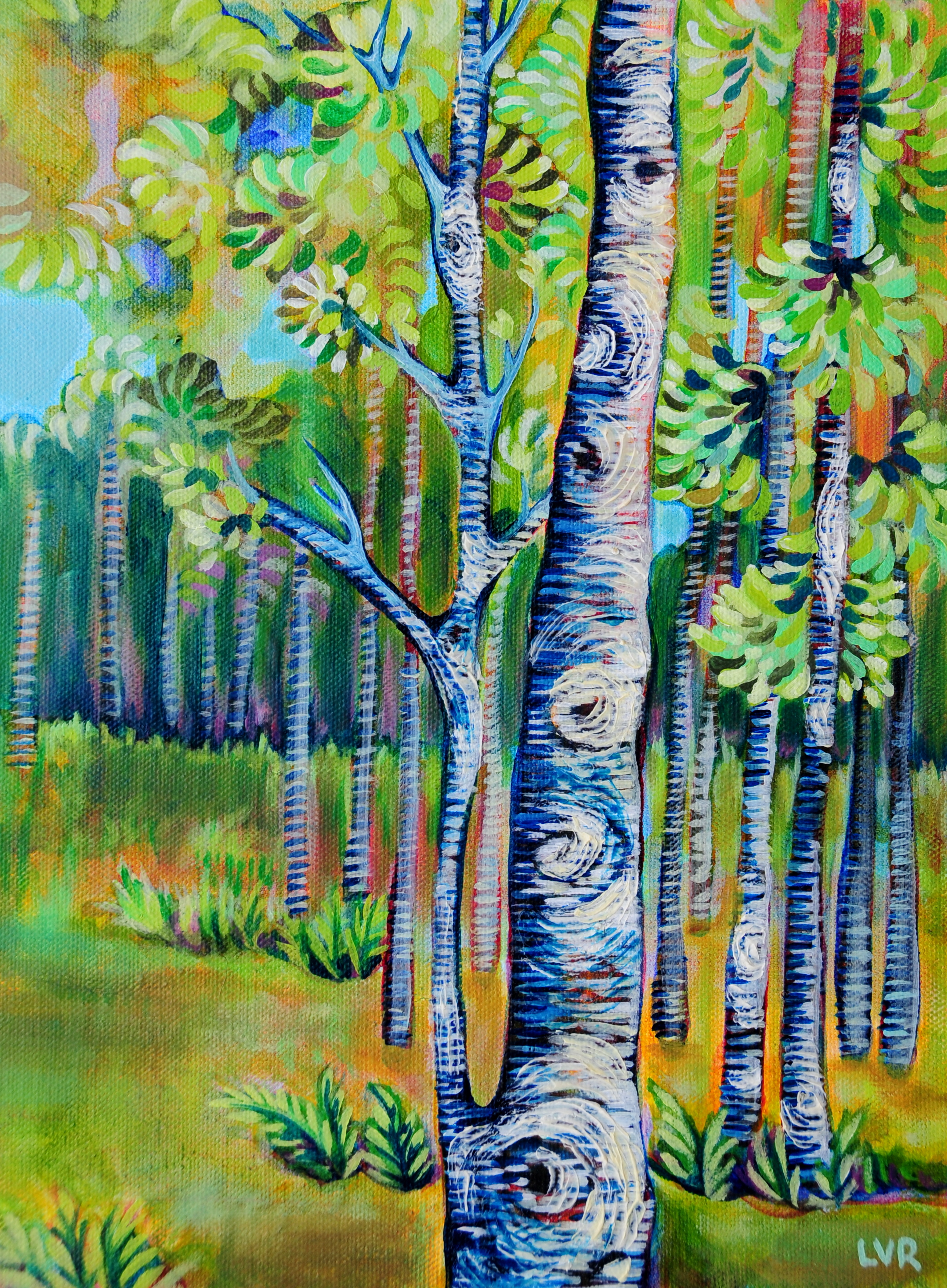 "Bountiful Birches  oil on canvas  9"" x 12"""