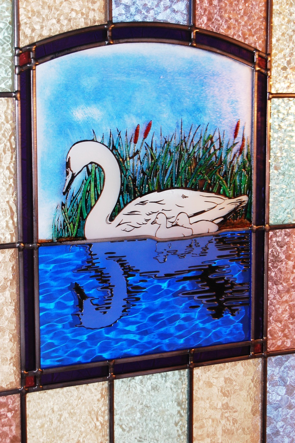 Swan painted glass window