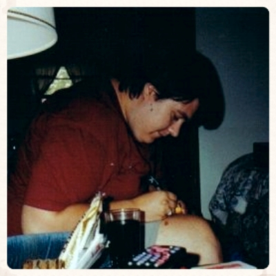 Me making a Rosary in my Grandparents' living room in 1995