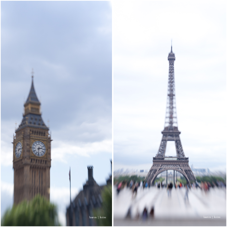 Big Ben and the Eiffel Tower, seen through the Lensbaby
