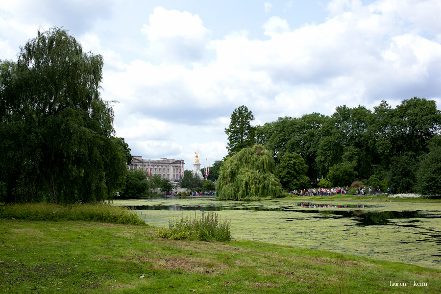 Buckingham Palace seen from lovely St. James's Park