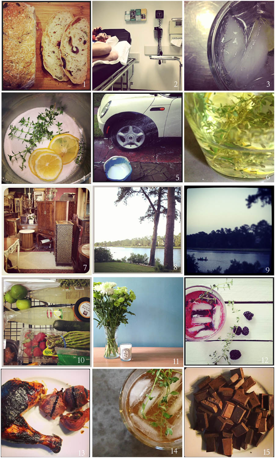 1. Best Bread Ever | 2. Urgent Care (again) | 3. Medicinal | 4. Start of Simple Syrup | 5. Bath | 6. Simple Syrup | 7. Coffee Table Hunt | 8. Party House | 9. Evening Boat | 10. Grocery Cart | 11. Diptyque | 12. New Cocktail | 13. Sunday Dinner | 14.  Pimms | 15. Simple Dessert